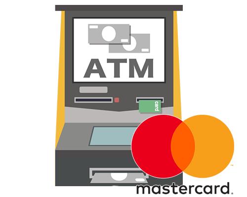 ACマスターカードが海外で使えるATMのイラスト